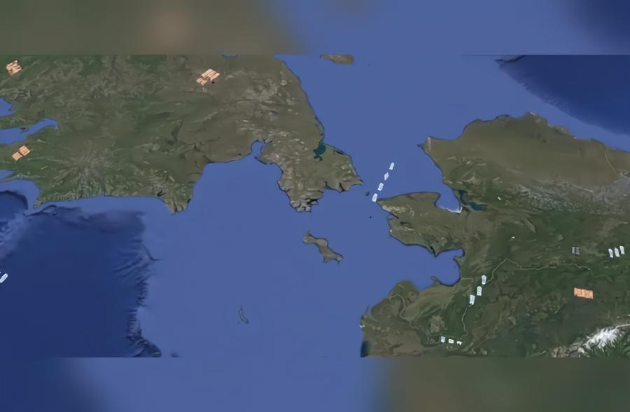 卫星地图实景看俄罗斯和美国之间的白令海峡