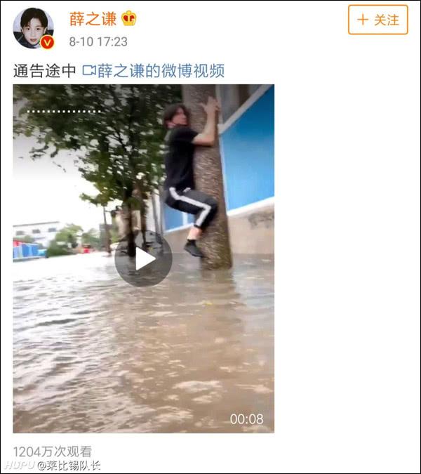 台风天艺人薛之谦?爬电线杆如此