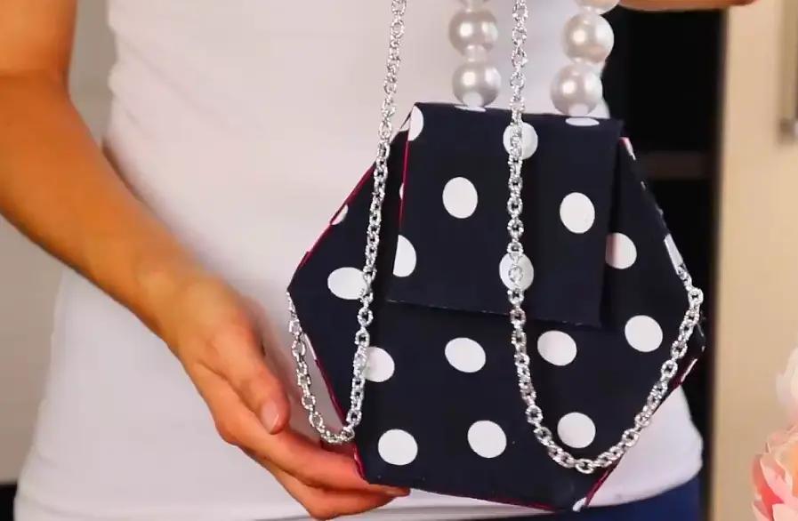 手工制作一个六边形手提包包,精巧时尚,做法简单