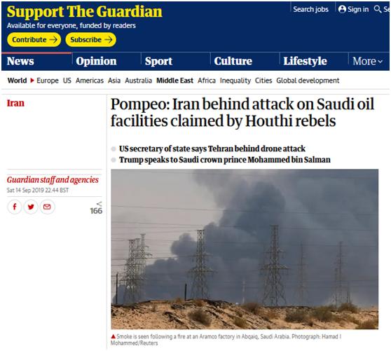 蓬佩奥称伊朗是沙特石油设施遇袭幕后黑手 民主党议员批:不负责任