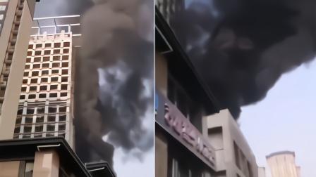 西安一在建楼房突发大火,楼体被烧有泡沫板高空坠落