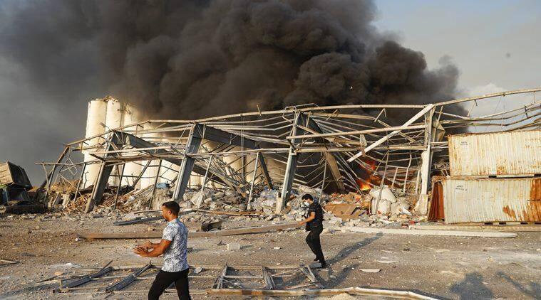 贝鲁特港口区爆炸现场 图源:美联社
