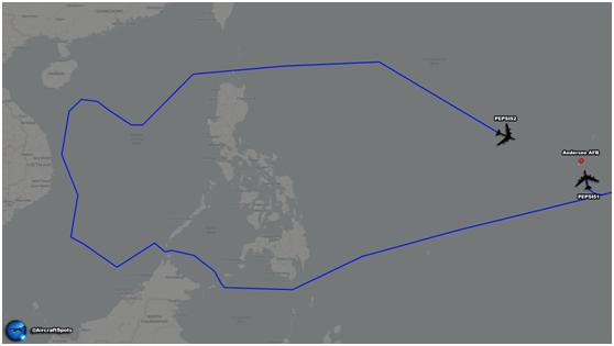 """""""飛機守望""""公布的美軍B-52轟炸機飛行路線"""