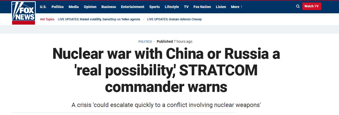 """美軍高官警告:與中俄爆發核戰爭存在""""真實可能"""""""