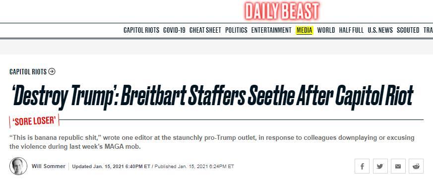 """(《野兽日报》:""""毁掉特朗普"""",国会骚乱之后,布赖特巴特员工愤怒不已)"""