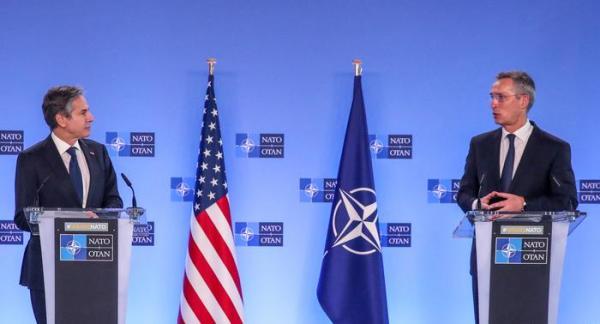 美国国务卿布林肯与北约秘书长斯托尔滕贝格23日举行新闻发布会。
