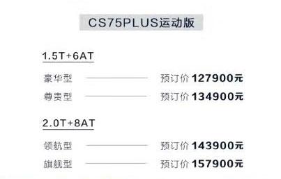 预售价12.79-15.79万元长安CS75PLUS开启预定