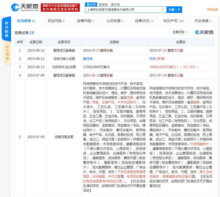 京东到家法定代表人变更,总经理姚俊接任
