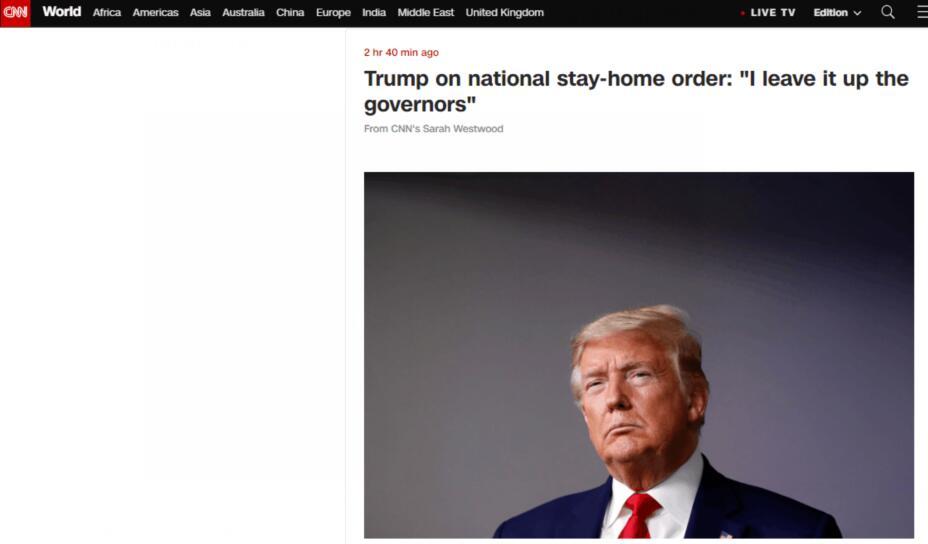 """特朗普反对发布""""居家隔离令"""":把这个交给州长决定"""