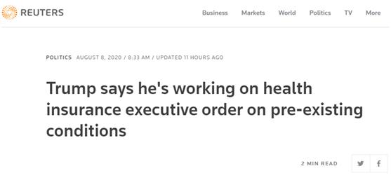 路透社:特朗普称,他正在推进关于医保问题的行政命令