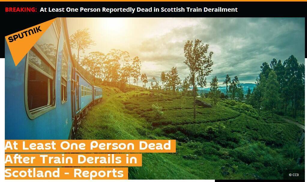 【冯一非】_苏格兰客运列车脱轨已致至少1死多伤,事故原因可能是山体滑坡