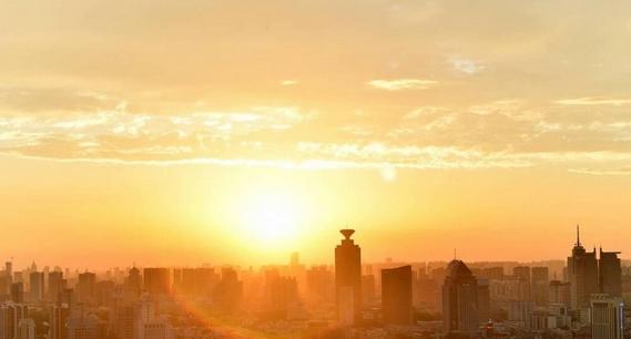 濟南:落日余暉景正美