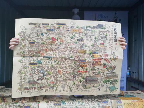 手绘西安历史文化街区美食游乐地图受游客热捧