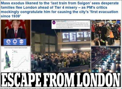 """每日邮报头条新闻""""逃离伦敦"""""""