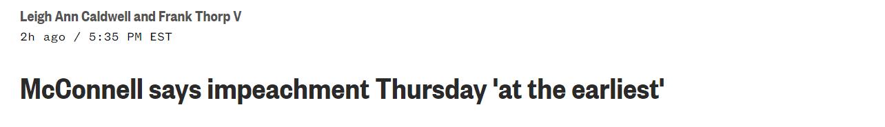 美媒:参议院多数党领袖称,特朗普弹劾案最早21日进行