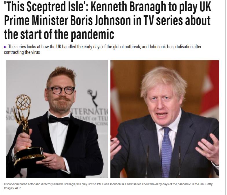 英国新冠疫情将拍剧,肯尼斯·布拉纳出演首相鲍里斯