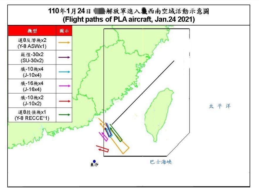 台军方证实:15架解放军军机进入台湾空域