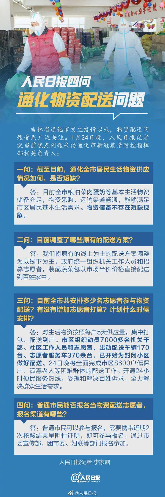 人民日报四问吉林省通化物资配送问题,当地回应