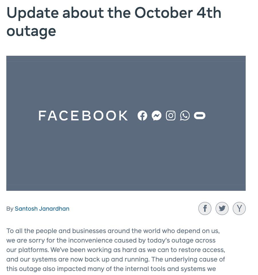 Facebook公布宕机原因