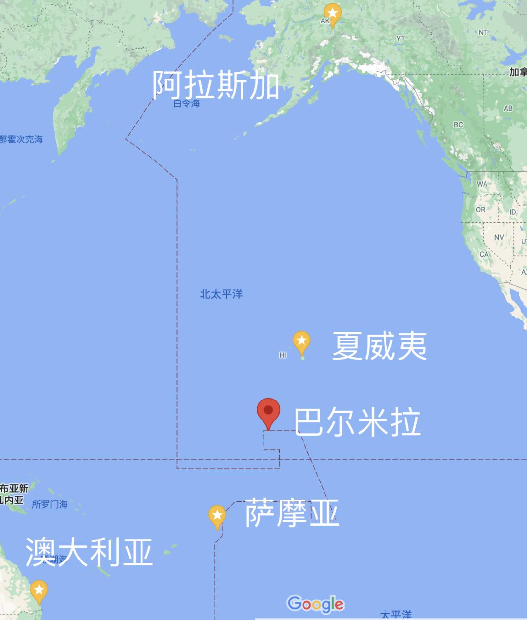 跨越整个太平洋的实验 | 谷歌地图