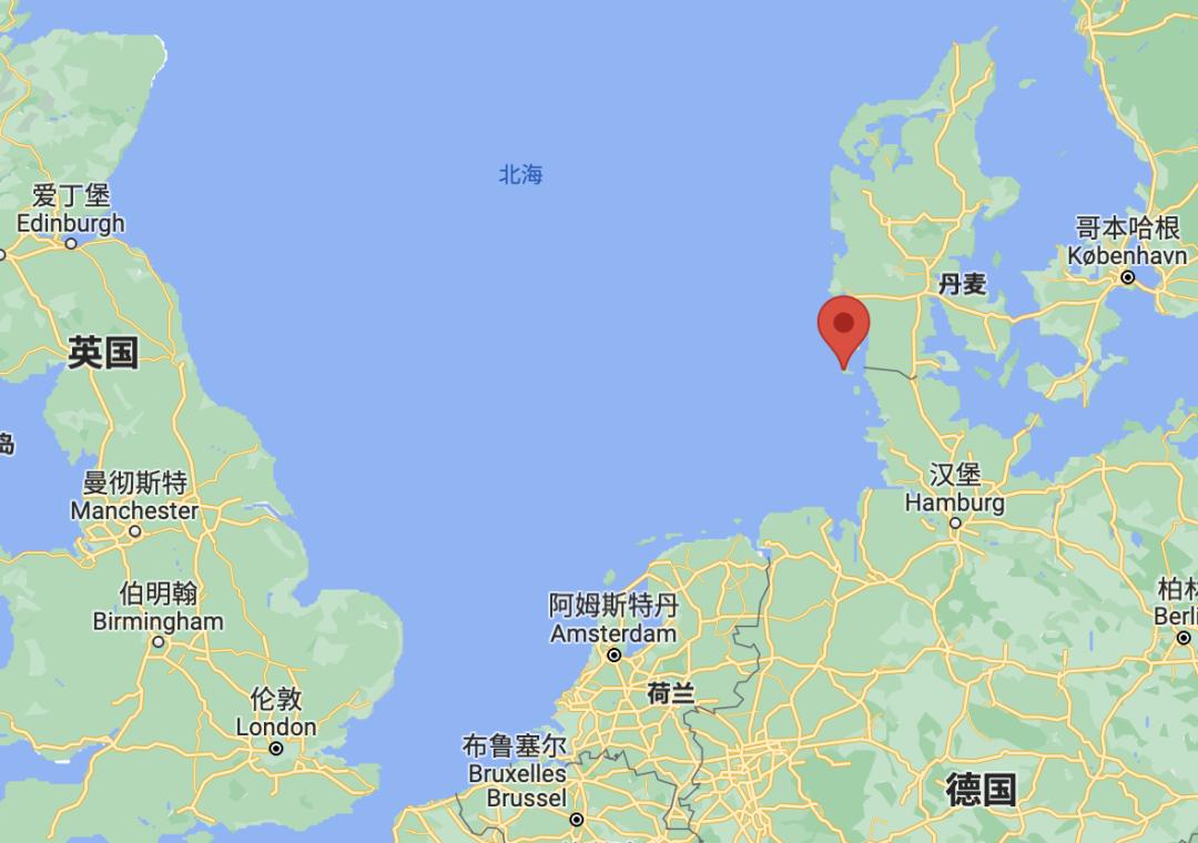 实验地点是叙尔特岛(Sylt),属于德国但离丹麦颇近 | 谷歌地图