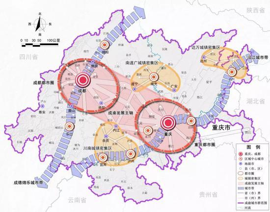 成渝区域格局示意图图片来源:《成渝城市群发展规划》
