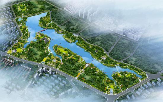位于峙垅湖畔的金华养生谷鸟瞰图。 金华开发区供图
