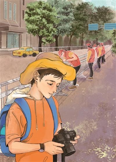 """志愿者们正在清洁街头护栏。小沈用相机拍下了一抹""""志愿红"""""""
