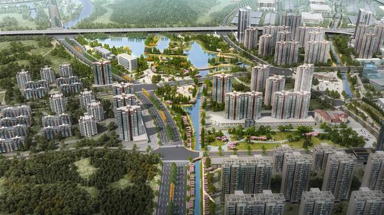 湿地公园鸟瞰图中交温州高铁新城提供