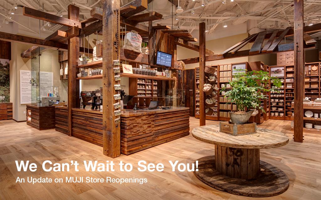 美国MUJI5月份发布的门店恢复营业的海报。/MUJI