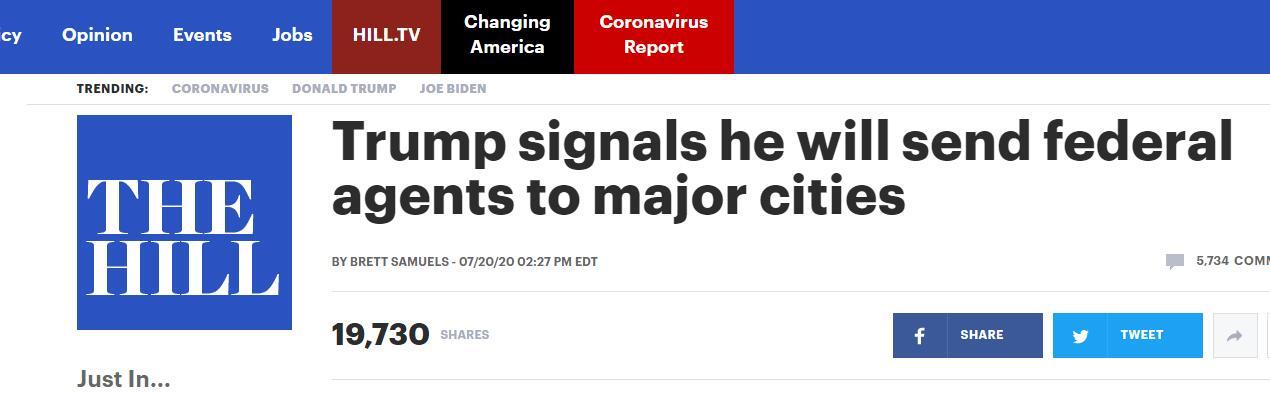 (《国会山报》:特朗普称将派联邦执法人员前往主要城市)