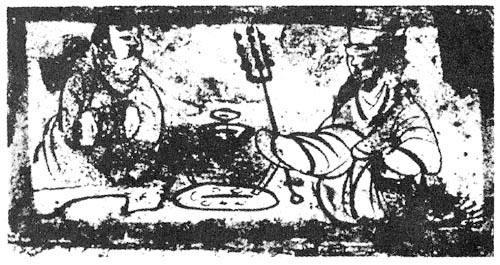 汉人胡食画像砖