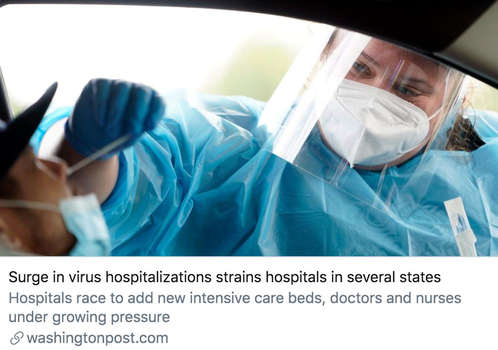 确诊病例激增,美国多地医院承受巨大压力。/ 《华盛顿邮报》报道截图