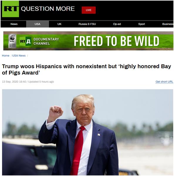 """【robots】_为拉票,特朗普说迈阿密的古巴人授予他""""猪湾奖"""",结果这个奖不存在"""