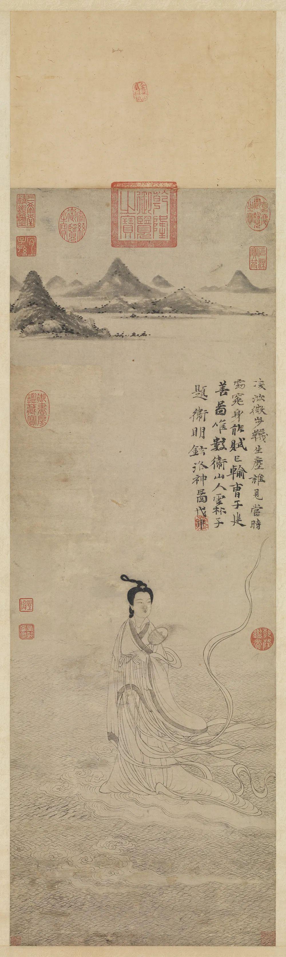 元 卫九鼎 《洛神图》轴