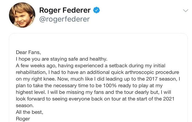 官方!费德勒宣布退出2020年剩余比赛,外媒:伤病恢复不如预