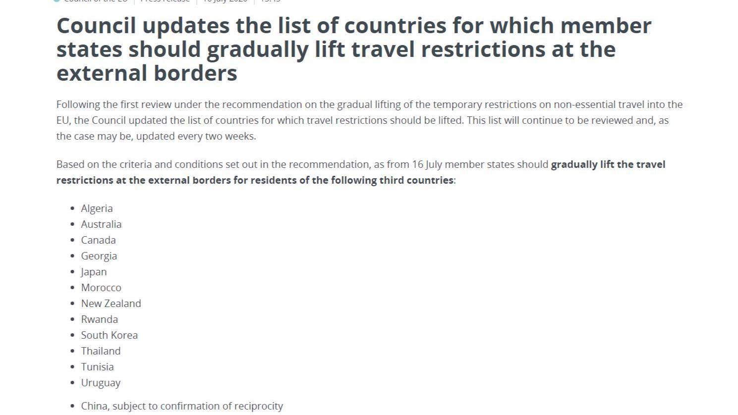 【猫头鹰刷新时间】_欧盟更新开放边界名单:对中国附带条件开放 对美国仍关闭