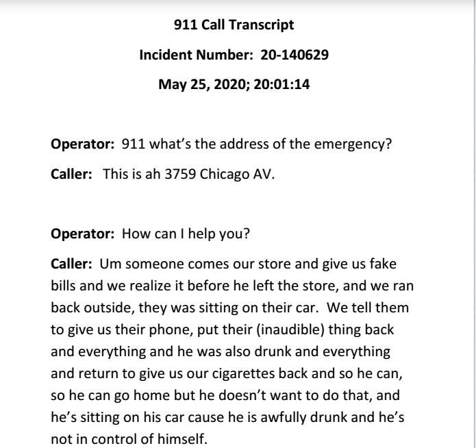 美国警方5月25日的接警记录。