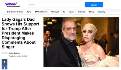 """【什么是区块链】_父女杠上了?LadyGaGa""""前脚""""力挺拜登,父亲""""后脚""""为特朗普站台"""
