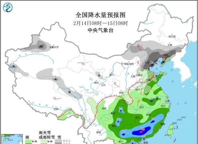 中東部大范圍雨雪持續:局地降暴雪量級,降溫超10℃