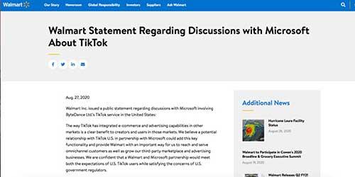 沃尔玛宣布与微软合作竞购TikTok,结果最快48小时出炉