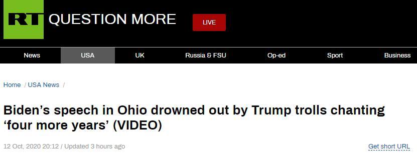 """(RT:拜登在俄亥俄州的演讲被特朗普的支持者们高呼的口号""""再干四年""""给淹没了)"""