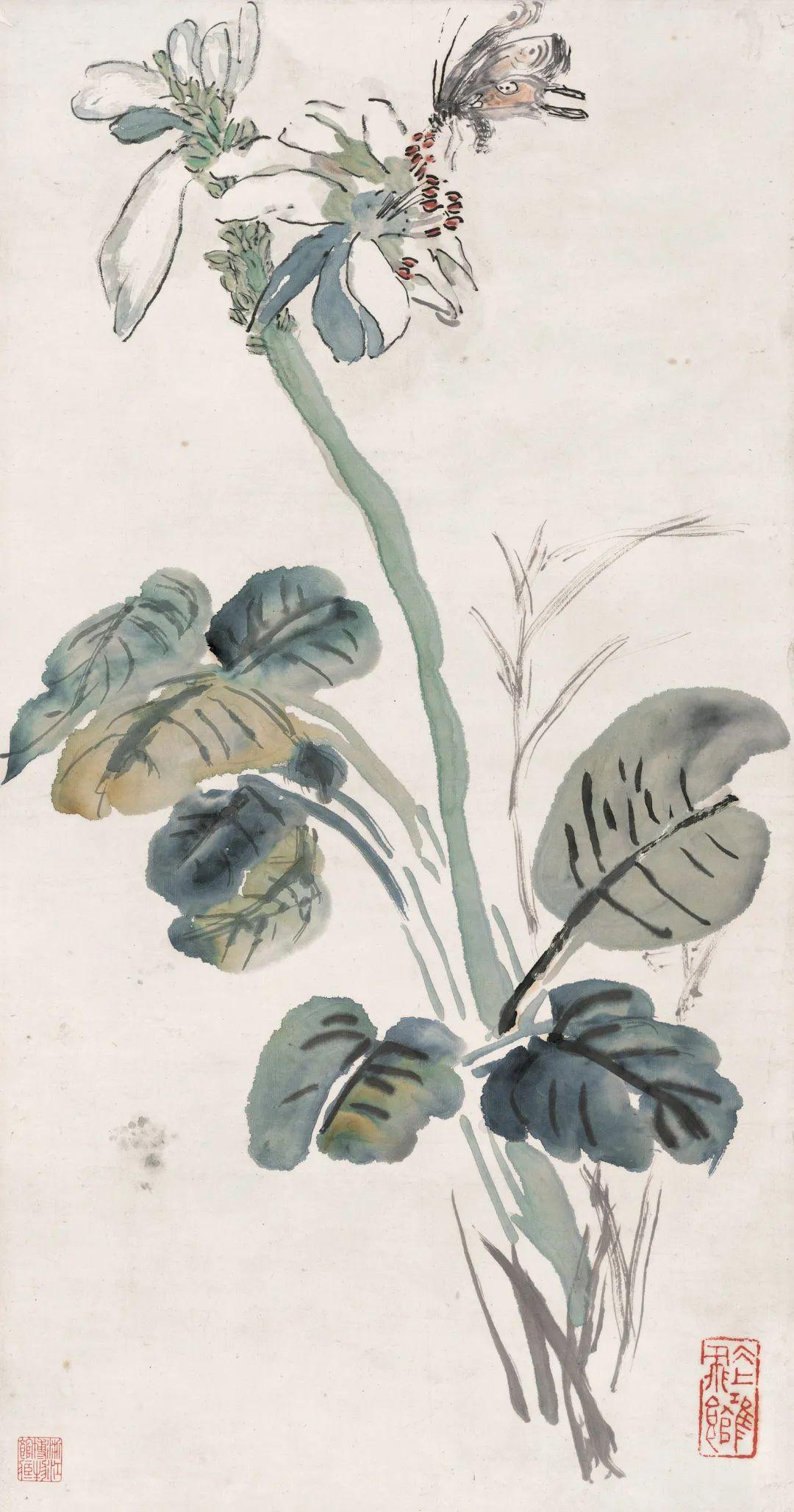 玉簪蝴蝶 黄宾虹 64.9×33.6cm 浙江省博物馆藏