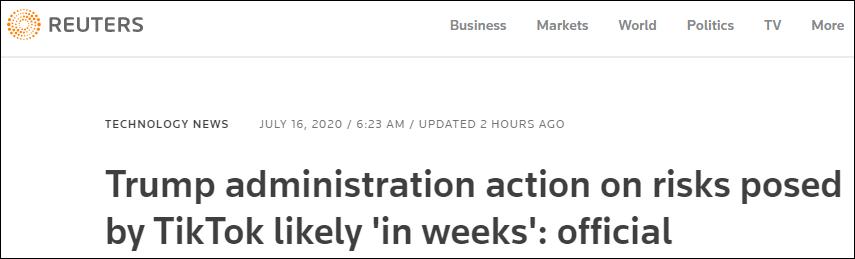 """白宫幕僚长:特朗普政府将在数周内对TikTok和微信""""采取行动"""""""