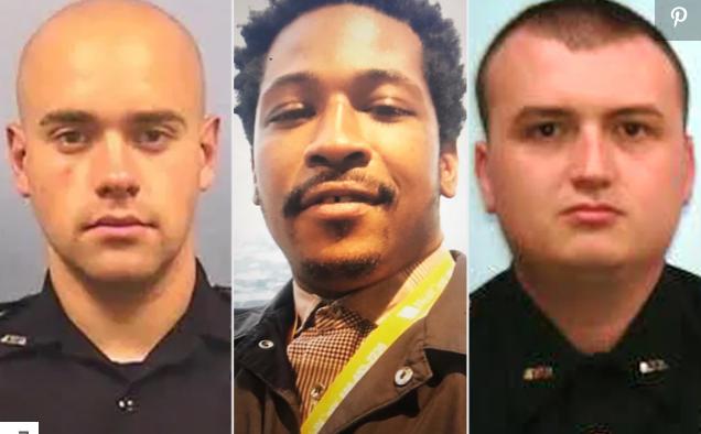 (截图为三名涉案男子,左一是开枪的白人警察罗尔夫,中间是被枪杀的黑人布鲁克斯,右边是当时与罗尔夫一同处理此案的警察布劳斯南)