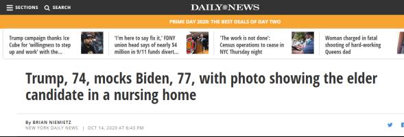 (《纽约每日新闻》:74岁的特朗普嘲笑77岁的拜登,并附上拜登在疗养院的照片)
