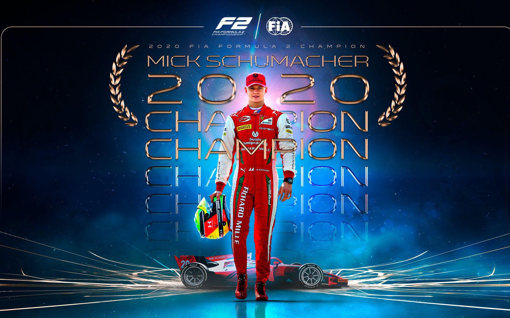 米克·舒马赫获得本赛季F2车手总冠军。图/社交媒体