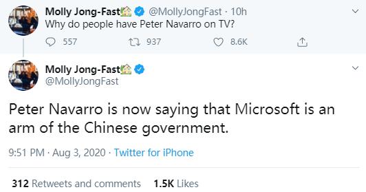 封杀TikTok之际白宫贸易顾问又语出惊人:微软应该从中国撤资