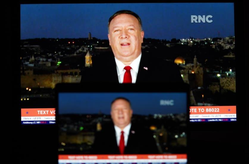 这张8月25日拍摄的视频画面显示,美国国务卿蓬佩奥在耶路撒冷发表共和党全国代表大会演讲。新华社 图