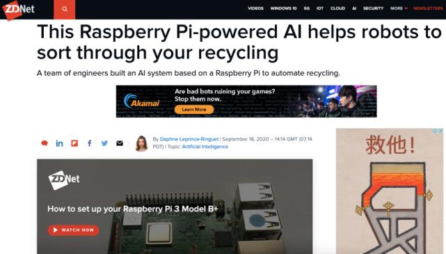 研究人员用传感器和人工智能武装树莓派微型电脑用于垃圾分拣